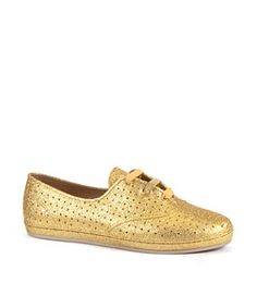 first rate 12b4c d0fa5 Gold (Gold) Mel By Melissa Gold Flocked Lace Up Trainers   260947593   New
