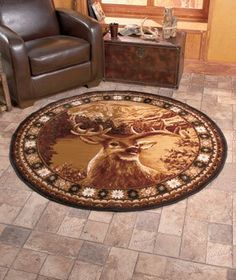 Buck Deer or Wolf Area Rug Round Rustic Cabin Lodge Wildlife Christmas NEW Round Rugs, Decor, Wildlife Bedroom, Round Carpets, Wood Bench Outdoor, Wildlife Decor, Rooms Home Decor, Round Area Rugs, Home Decor