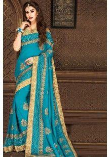 Bondi blue Faux Georgette Embroidered  #Wedding #Saree
