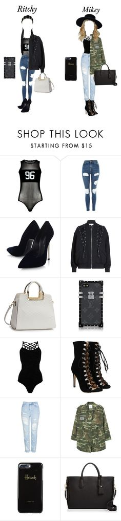 """""""Ritchy and Mikey double date with Youngguk and Dean"""" by estherbljk ❤ liked on Polyvore featuring Boohoo, Topshop, Casadei, IRO, Pepper & Mayne, MANGO, Harrods and Longchamp"""