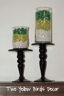 St. Patrick's Day. DIY -Candle stands, E-6000 glues, vases (dollar store), dried beans, & spray paint. Click on Link for tutorial. Holiday / Centerpiece Ideas / Mantel
