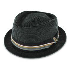f716c3dd2d1 Belfry Striped Jazz Men s Packable Braided Straw Porkpie Hat In Black -  CL11ZZYRRAD