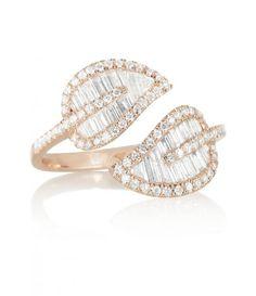 Anita Ko 18k rose gold & diamond leaf ring