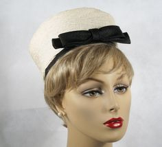 1960 women's hats   Vintage 1960s Hat High Rise White and Black Straw Pillbox by Lisa Sz ...
