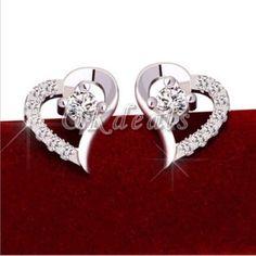 100% New. Women's Heart Ear Stud Earring It Comes Directly From Factory Jewelry Earrings