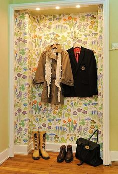Wallpapered Entry Coat Nook