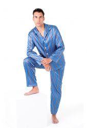 manga pico Pijamas rayas cuello Pijama Pantalon larga Liso Hombre largo liso OIdwq