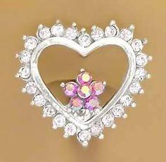 Cz Clear Heart w/Pink Flower Reverse Belly navel Ring piercing bar body jewelry Top Mount playful piercings. $9.00