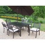 $1614.00 Oakland Living - Rochester 9 Piece Dining Set with Cushions and Umbrella - 6137-3830-4005-BN-4101-15-HB
