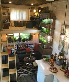 Office Loft & Living Room - Ever Growing Tiny House The 330 sq. Ever Growing Tiny House features a custom wall garden with three planter boxes, an office loft, and a multifunction music room/guest bedroom. Tyni House, Tiny House Living, Home Living Room, Tiny House Loft, Tiny Loft, Tiny House Bedroom, Tiny Living Rooms, Best Tiny House, Tiny House Plans