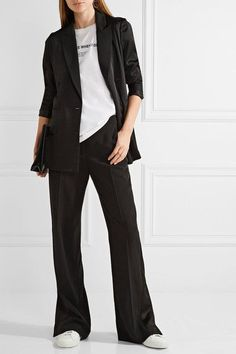 Black stretch-crepe and crepe de chine Concealed button, hook and zip fastening at front 77% acetate, 20% viscose, 3% elastane Dry clean
