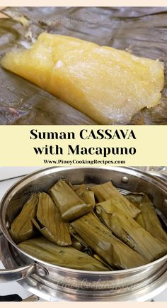Suman Cassava with Macapuno Grated cassava with sugar, coconut cream and macapuno wrapped in banana leaves and stsamed. Pinoy Dessert, Filipino Desserts, Asian Desserts, Pinoy Food Filipino Dishes, Easy Filipino Recipes, Asian Snacks, Cuban Recipes, Suman Cassava Recipe, Cassava Cake Recipe Filipino