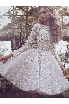 Bateau Homecoming Dresses, Ivory Short Homecoming Dresses, Lace Chic Homecoming Dress Scoop Long Sleeve Ivory Short Prom Dress Party Dress WF02G41-922