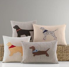 Applique Dog Pillow Cover c/o Restoration Hardware Baby & Child Applique Pillows, Sewing Pillows, Diy Pillows, Decorative Pillows, Throw Pillows, Dog Cushions, Dog Throw, Handmade Cushions, Shirt Pillows