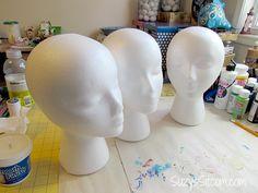 DIY Flapper Mannequin Hat Stand Paper Mache Crafts For Kids, Clay Crafts, Fun Crafts, Halloween Projects, Halloween Diy, Peach Paint, Styrofoam Head, Hat Holder, Mannequin Heads