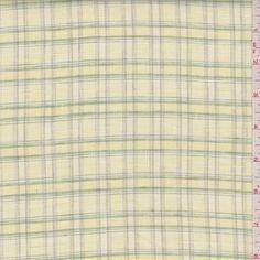 Yellow/Green Plaid Linen - 37398 | Discount By The Yard | Fashion Fabrics