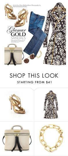 """""""Micro Trend: Solid Gold Sandals"""" by malussieversii ❤ liked on Polyvore featuring Charles David, Burberry, Marc by Marc Jacobs, Michael Kors and Illesteva"""