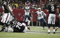 Chargers vs. Falcons:     October 23, 2016  -  33-30, Chargers  -      Atlanta Falcons quarterback Matt Ryan (2) throws an interception to Denzel Perryman during the second half of an NFL football game, Sunday, Oct. 23, 2016, in Atlanta. (AP Photo/David Goldman)  AP, DAVID GOLDMAN