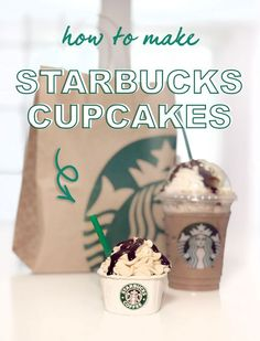 These Starbucks cupcakes are so cute! They look just like a mocha frappuccino! Not to mention, the mocha cupcakes with chocolate espresso buttercream are so delicious! These cupcakes go so fast at any party. This is an easy and cute DIY to take your cupcakes game up a notch. #cupcake #starbucks #mocha #cupcakes