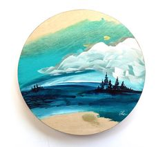 🌟GET LOST IN NATURE🌟 My 'Nature Escape' series offers the viewer a little escape to nature. can't you imaging sitting on a log on the beach and gazing out at this scene? Where does it remind you of? Tree Paintings, Original Paintings, Abstract Landscape, Abstract Art, Circle Painting, Nature Artists, Circle Art, Art Bag, Canadian Artists