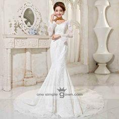 Malay Modern Reception Dresses long sleeve v neck lace embroidery mermaid dress 01A 52281