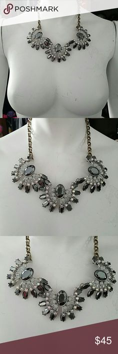 Betsey Johnson crystal fashion grey necklace Betsey Johnson crystal fashion whiteout grey frontal necklace. No missing stones. Bought but never worn Betsey Johnson Jewelry Necklaces