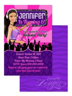Barbie Rock'n Royals - Digital Birthday Party Invitation / Child Party Ideas…