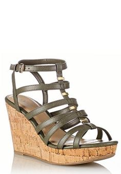 Cato Fashions Wide Width Cork Cage Gladiator Wedges #CatoFashions