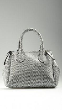 Herringbone printed mini tote