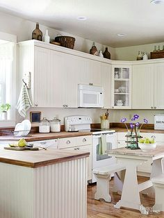 ideas for that awkward space above existing cabinets decorating