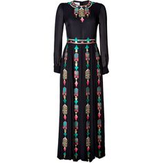 VALENTINO Embroidered Silk Gown (67.395 BRL) ❤ liked on Polyvore featuring dresses, gowns, valentino, robe, long sleeve gown, long sleeve dress, long sleeve evening dresses, silk gown and long blue skirt