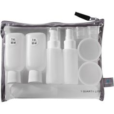 Having a Travel Bottle Set helps for those days you are in transit to quickly freshen up before your next stop. Having it in a zipped bag prevents leaking if something is left open.