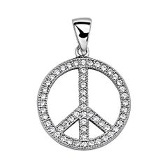 .925 Sterling Silver CZ Micro Pave Peace Sign Shimmering Charm Pendant The World Jewelry Center. $21.00. Promptly Packaged with Free Gift Box and Gift Bag. Special manufacturing process held to ensure less wear and tarnish. From our exclusive Shimmering Collection, this item showcases the finest Sterling Silver available today!. Rhodium coated for more shine.