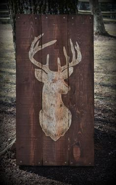 Deer Buck Pallet Wood Art Pallet Sign Decor Buck Hunting by HarveyPalletDesigns on Etsy https://www.etsy.com/listing/204471173/deer-buck-pallet-wood-art-pallet-sign