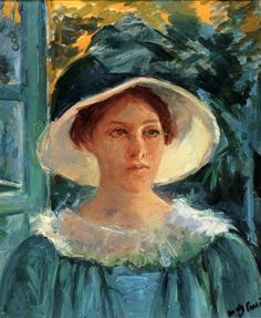 Young Woman In Green Outdoors In The Sun (c. 1914) - Mary Cassatt
