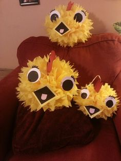 Chica pom poms for the twins birthday party...not perfect but cute