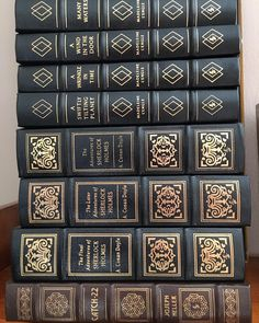 """When thrift fortune shines bask in it as long as you can. These 8 leatherbound Easton Press editions were $2 each today. I was especially happy about the Madeleine L'Engle set. Light shelf wear Holmes volumes are slightly cocked. As I checked out the clerk said somewhat wistfully of the L'Engle """"Oh those are two of my favorite books in the world."""" I felt some sympathy as I carried them out the door. #books #instabook #awrinkleintime #sherlockholmes #catch22 #leatherbooks #eastonpress #thrift…"""