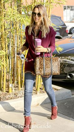 I adore Jessica Alba's casual style. I love the beatroot color of her cozy cardigan. Skinny jeans are a staple with a pair of boots.