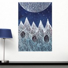 Luna and the Blue Ridge Mountains Wall Decal - Ethereal Art by Elise Mahan by MyWallStickers on Etsy https://www.etsy.com/au/listing/203024901/luna-and-the-blue-ridge-mountains-wall