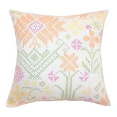"""Cotton throw pillow with a needlepoint-inspired motif and down fill. Made in the USA.   Product: PillowConstruction Material: Cotton and down fillColor: SummerFeatures: Insert included Made in the USAHidden zipper closure Dimensions: 18"""" x 18""""Cleaning and Care: Dry cleaning recommended"""