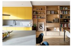Bearstead Rise Apartment / Gruff Completed in 2019 in Londres United Kingdom. Images by FrenchTye. Architects Gruff have reinvented a mid-century London house into a colorful home for a young family linked throughout by recurring joinery and. Engineered Timber Flooring, Timber Staircase, London House, Kitchen Doors, Cupboard Doors, Kitchen Dining, Home Office Space, House Built, Maine House