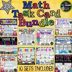 Math Spiral Review Task Cards for February {5th Grade}