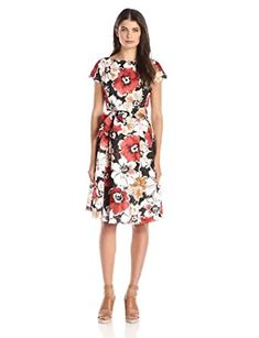6177244c8f34e Anne Klein Women s Printed Cap-Sleeve Floral Dress at Amazon Women s  Clothing store