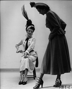 40's glamorous fashion, 1948. Inspired by late Edwardian (ca. 1915) fashions! Those hats, the shoes. The pair in front, with the multiple straps: gorgeous!