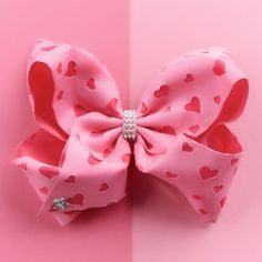 Checkout our adorable JoJo bow for Valentine's Day Jojo Hair Bows, Jojo Bows, School Hair Bows, Jojo Siwa Bows, Callie And Marie, Claire's Accessories, Baby Shower Crafts, Dance Moms Girls, Hair Bow Tutorial