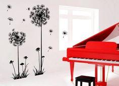Wall Decals - YYone Black Dandelion Flower Plant Tree Large Removable PVC Wall Decal Sticker - - Amazon.com