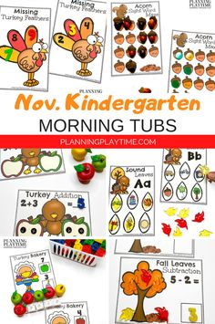 Looking for fun November Morning Tubs for kids? Check out these 10 Hands-On Fall themed activities for Preschool or Kindergarten. Kindergarten Age, Kindergarten Activities, Activities For Kids, Preschool, Kid Check, Turkey Feathers, Autumn Theme, Sight Words, Tubs