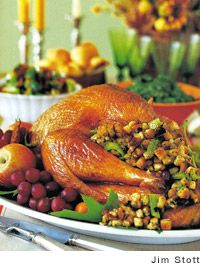 Roast Turkey with Stuffing and Vegetables