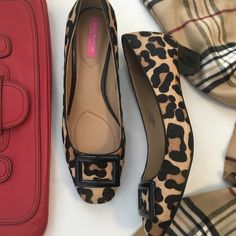Isaac Mizrahi hair calf low heel pumps Super chic! Leopard print hair calf. Low, chunky, patent leather heel. Black buckle at toe. Cushioned leather foot bed, soft rubber outsole for comfort. Well made, quality materials. Gently loved, but in excellent used condition. Only the slightest wear. Isaac Mizrahi Shoes Heels