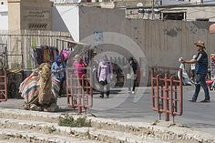 Street beside Roman biggest amphitheater in africa in El Djam, Tunisia. Africa